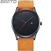 2016 GIMTO Fashion Men S Leather Watches Luxury Brand Top Quartz Wrist Watch Men Waterproof Clock