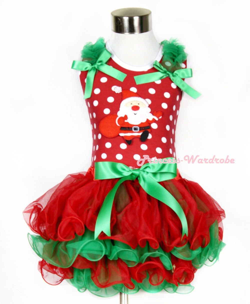 Xmas Minnie Dots Tank Top Kelly Green Ruffles Kelly Green Bow Gift Bag Santa Claus Bow Red Green Petal Pettiskirt MAMH097 my 1st christmas santa claus white top minnie dot petal skirt girls outfit nb 8y