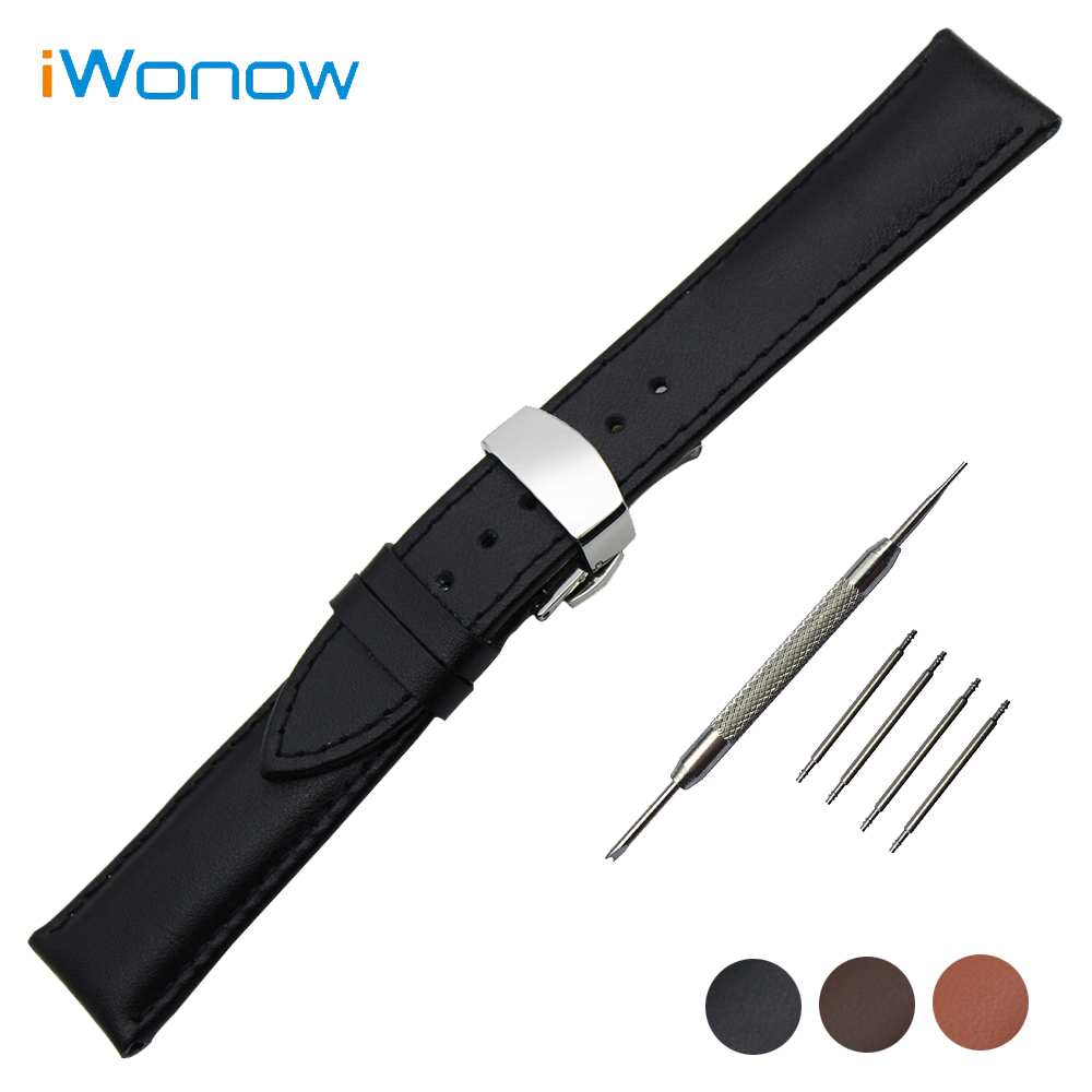 Genuine Leather Watch Band 18mm 20mm 22mm 24mm for Citizen Butterfly Buckle Strap Wrist Belt Bracelet + Spring Bar + Tool 24mm nylon watchband for suunto traverse watch band zulu strap fabric wrist belt bracelet black blue brown tool spring bars