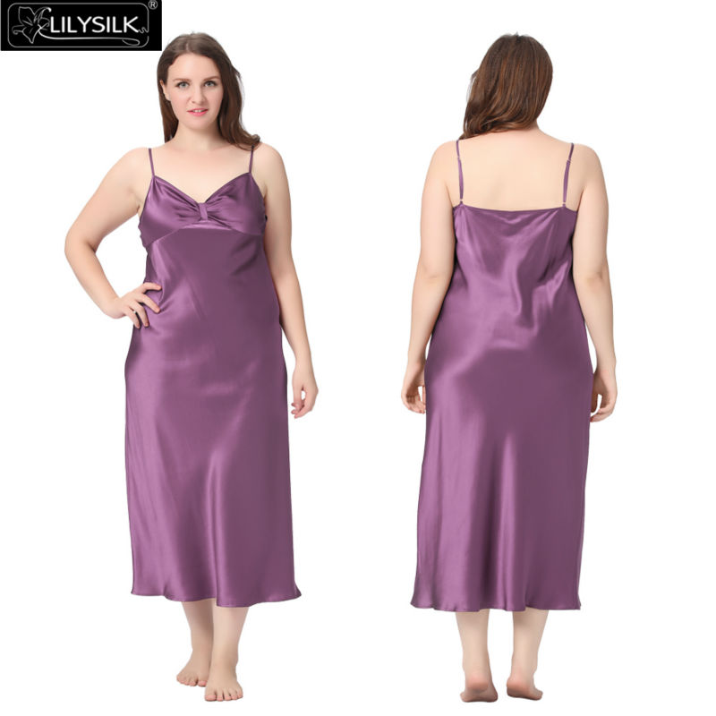 1000-violet-22-momme-gathered-bowknot-neck-silk-nightgown-plus-size-01