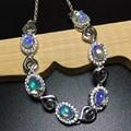 Super luxuoso pulseira de opala de fogo 18 k glod plate pure 925 pulseira de prata jóias para mulher brilhante jóias de opala
