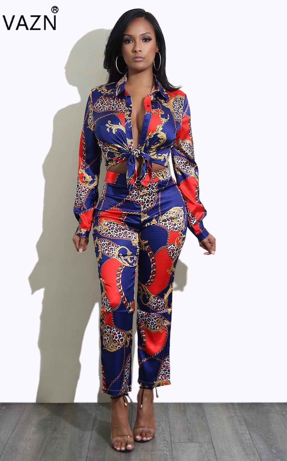 VAZN 2017 Most Popular Fashion Sleeve Women Costume Summer Bodycon 2-piece Jumpsuits Print Party Rompers XM059