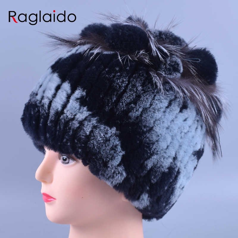 Raglaido Womens Real Fur Hat Winter Rex Rabbit +Fox Fur Caps Princess Hats High quality Hand Sewing Skullies Beanies LQ11146 aiweiyi womens high quality genuine leather real fur 100