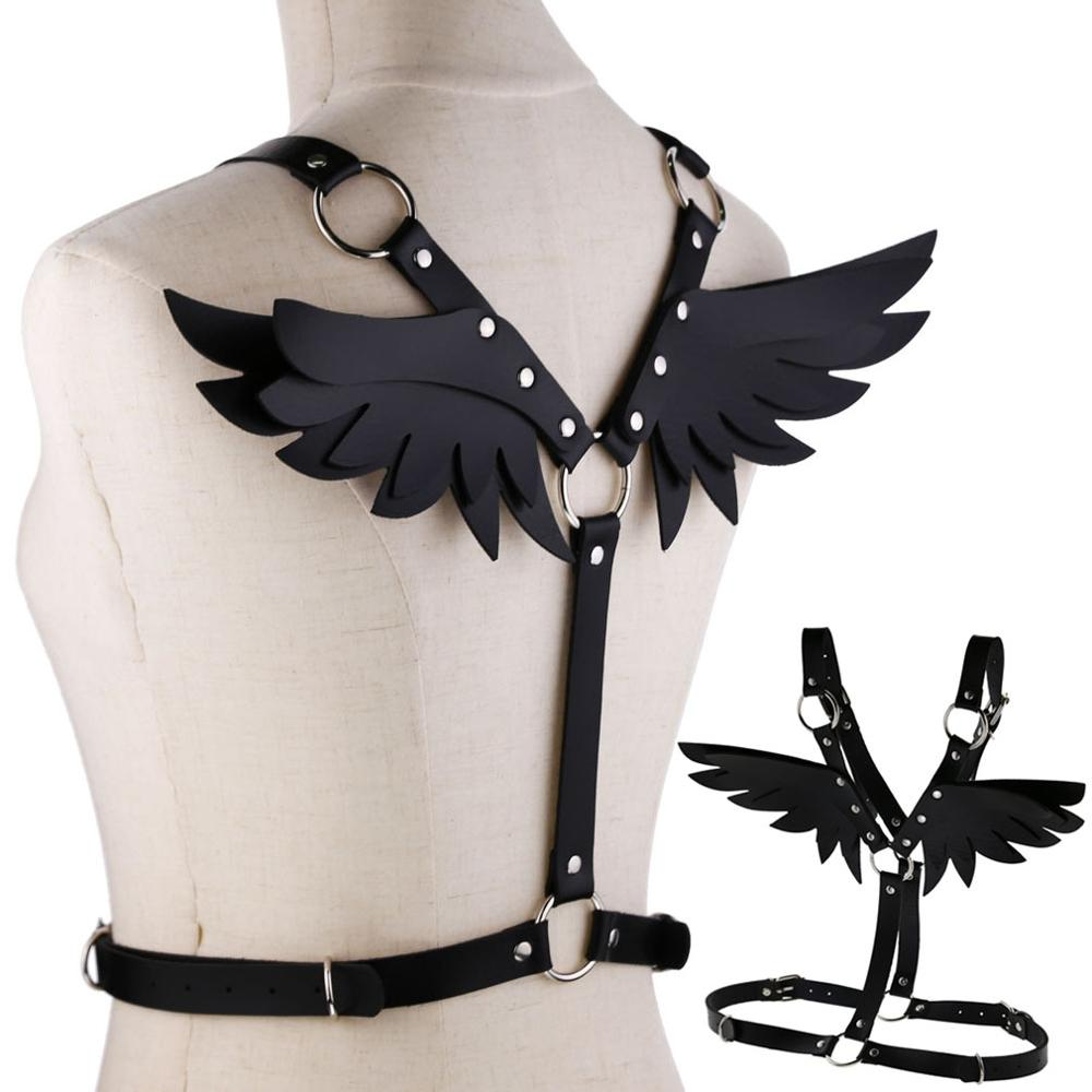 New Lovely Wings Black Leather harness Punk body chain women strap summer festival lingerie cage rave jewelry