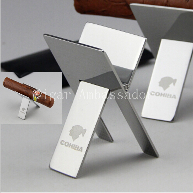 COHIBA MINI Gadgets Silver Stainless Steel Foldable Stand Showing Portable Cigar Ashtray Holder