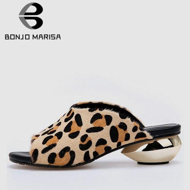 BONJOMARISA/Новинка, большие размеры 32-42, леопардовая обувь в необычном стиле, без шнуровки, Shqallow, женская обувь, на каждый день в офис, для вечеринок, летние мюли