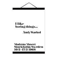 שחור לבן Mininmalist טיפוגרפיה אנדי וורהול משעמם ציטוטים עץ בד ציור ממוסגר קיר תמונת הדפסת אמנות פוסטר בית דקו