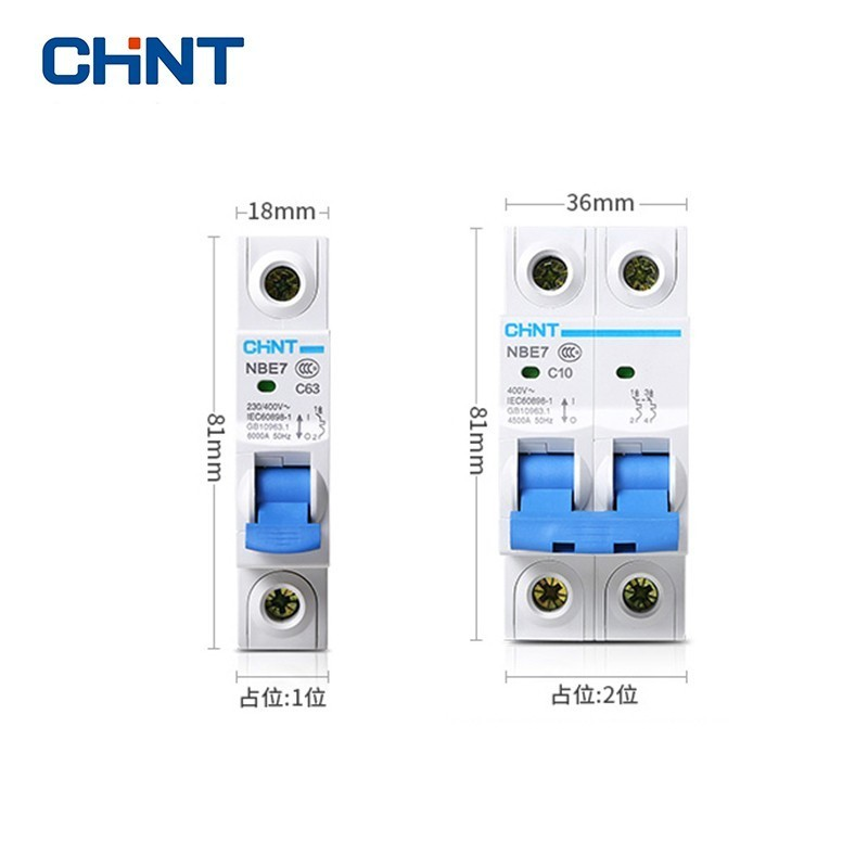 CHINT 1P/2P Circuit Breakers NBE7 Series Household Air Switch C Type Short Protector 10A 16A 20A 25A 32A 40A 63A