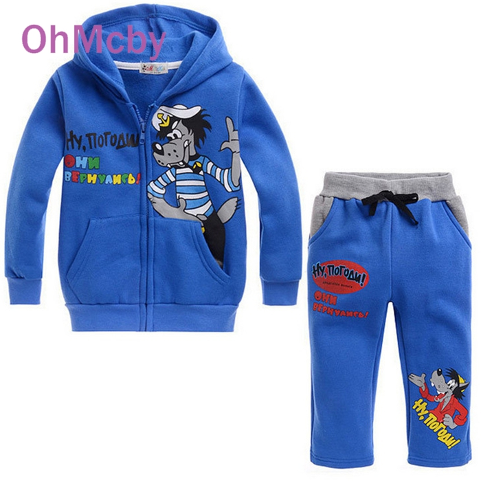 Autumn Winter Baby Girls Boys Clothing Set Children Kids Cartoon Hoodies Coat and Pants Sets Blue Wolf Print Thicken Suits  autumn winter baby girls boys kids infants cartoon children thermal velvet jackets cardigan sweaters pants clothing sets s3901