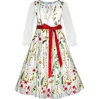 Soleggiato Fashion Flower Girls Dress Ricamato Manica Lunga Festa di Compleanno 2017 Estate Principessa Abiti Da Sposa Vestiti Taglia 4-12
