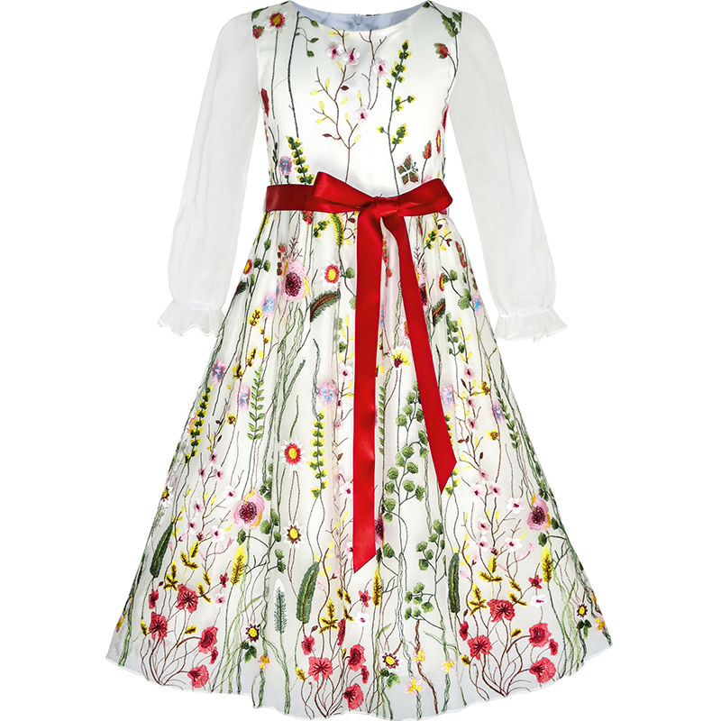 Sunny Fashion Flower Girls Dress Embroidered Long Sleeve Party Birthday 2018 Summer Princess Wedding Dresses Clothes Size 4-12 sunny fashion girls dress princess worsted winter christmas hat lace red 2018 summer wedding party dresses clothes size 4 10