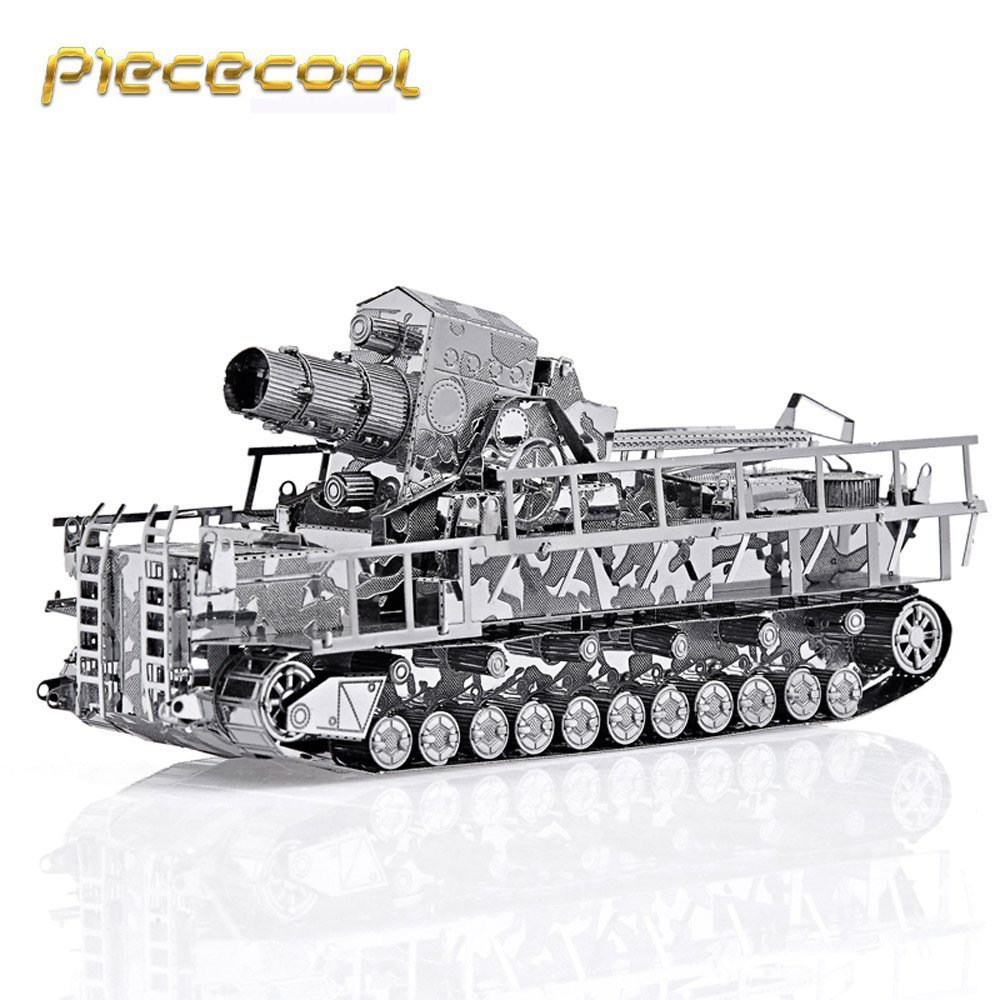 Original Piececool 3D Metal Assembling Puzzle Germany Railway Gun Tank P035-S DIY Laser Cut Model Kits Jigsaw Toys Military original piececool 3d assembling metal puzzle taj mahal building p007 g model diy 3d laser cut nano jigsaw toys gold