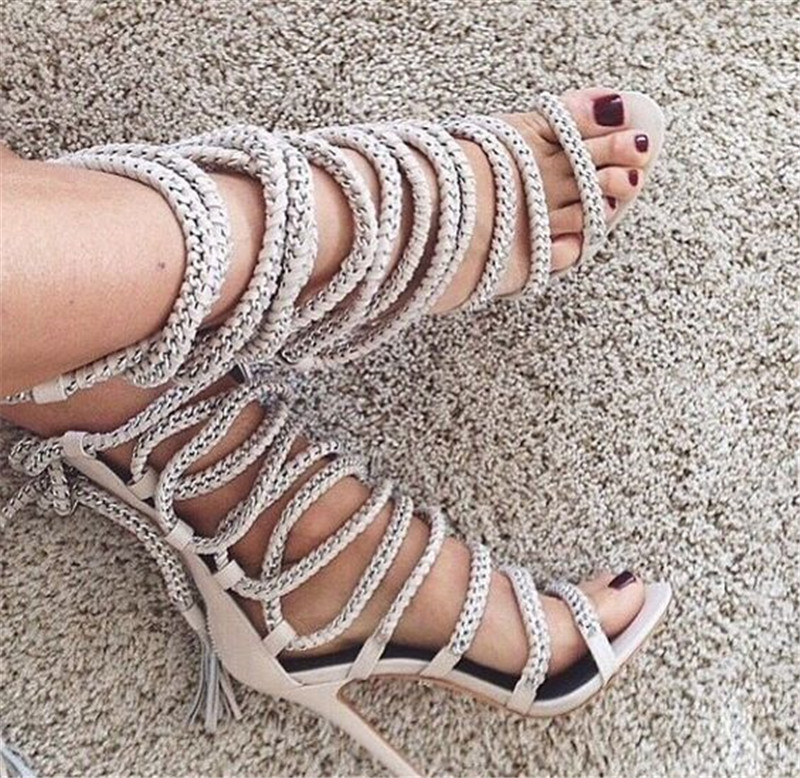 Sestito High Quality Woman Rope Cross-tied Gladiator Sandals Boots Ladies Thin High Heels Dress Shoes Woman Lace-up Ankle Boots цена 2017