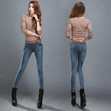 Весна новый хлопок эластичные джинсы женские брюки Корейский стрейч брюки ноги тонкий тонкий светло-голубой женская мода