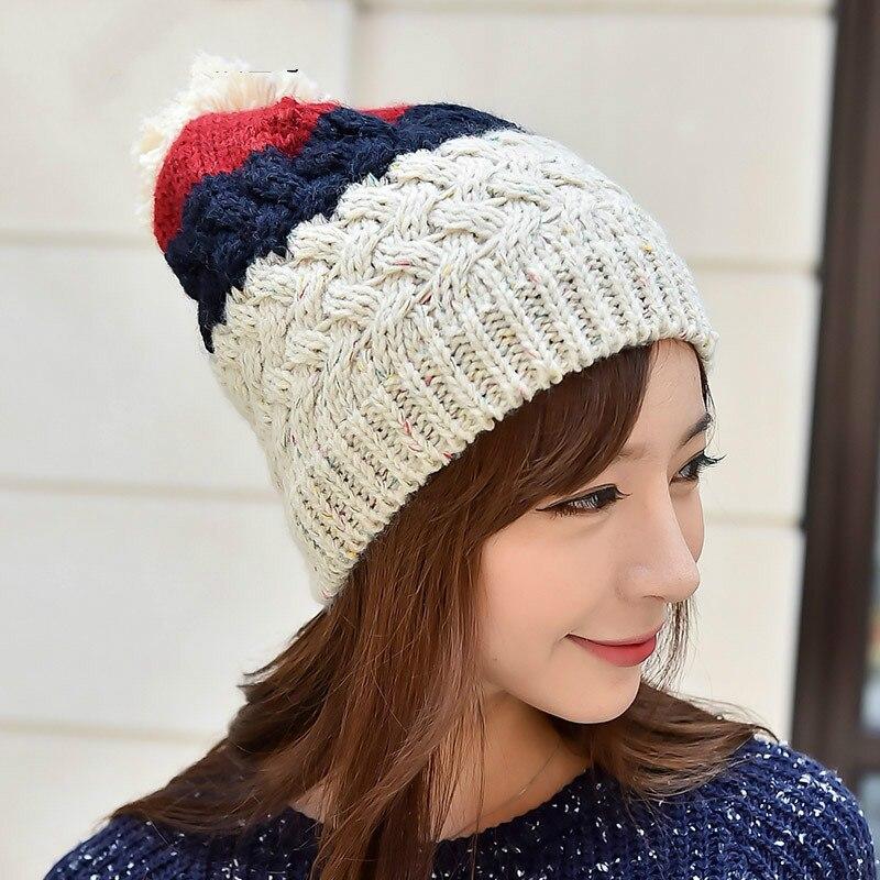 BomHCS Cute CONTRAST COLOR Stitching Women's Fashion Winter Warm Crochet Beanie Handmade Knitted Hat Cap bomhcs cute big flower beanie winter lady s warm crochet knitted hat 10