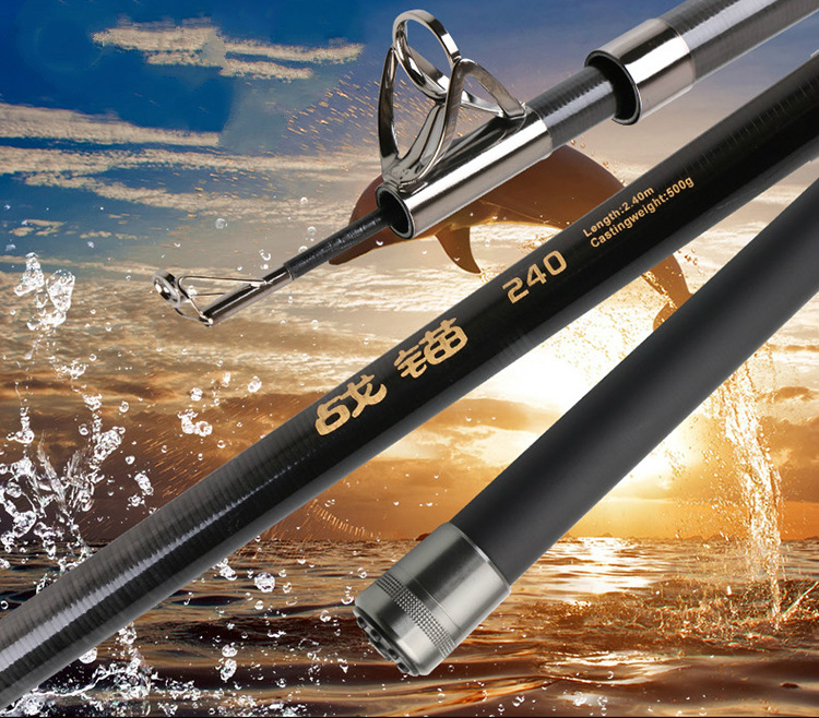 Anchor Rod Carbon Super Hard Fishing Rod Stream Seapole River Ice Fishing Rod Pesca Long Throwing Power Hand Rod 2.1 3.0m