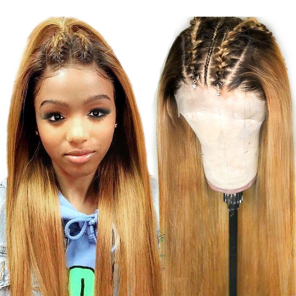 180 Ombre Straight Lace Front Human Hair Wig Highlights Honey Blonde 13x4 Remy Brazilian Lace Frontal