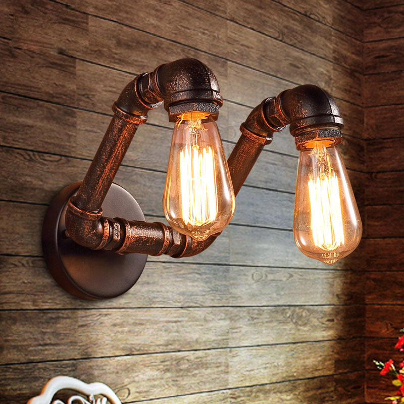buy retro industrial loft pipe wall light sconces lamp ac90 220v edison bulb. Black Bedroom Furniture Sets. Home Design Ideas