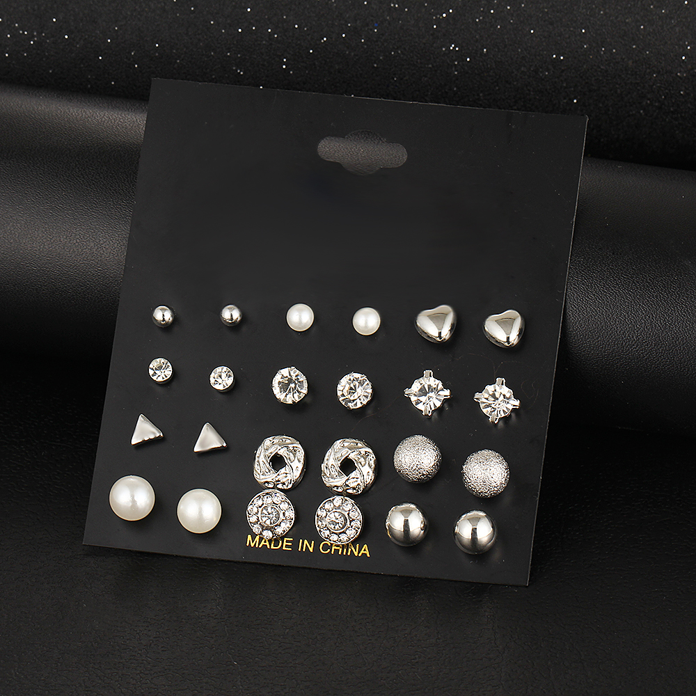 12 kom / set Kristalna legura okrugla kugla Zlatna naušnica Vintage - Modni nakit - Foto 2