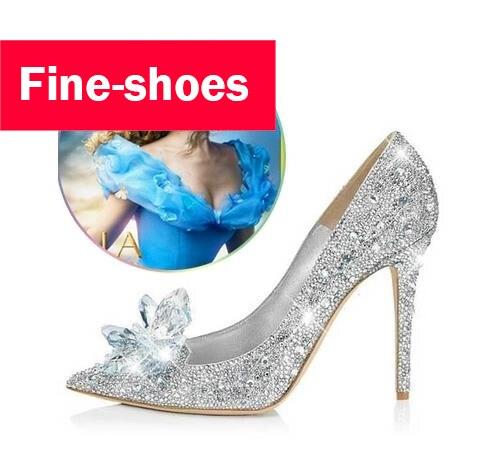 18bd85c6cd3 2017 Nieuwe Glitter Strass Hoge Hakken Cinderella Schoenen Vrouwen Pompen  puntschoen Vrouw Kristal Trouwschoenen Zapatos Mujer 718 in 2017 Nieuwe  Glitter ...
