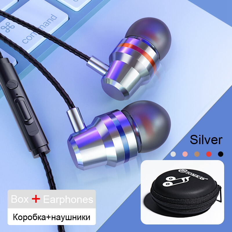 TOMKAS Wired Earbuds Headphones 3.5mm In Ear Earphone Earpiece With Mic Stereo Headset 5 Color For Samsung Xiaomi Phone Computer 22