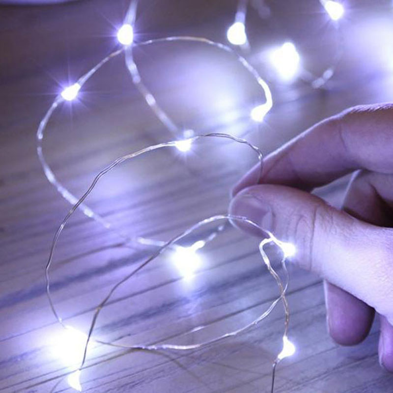 reputable site b993e 99843 US $0.99 |Super Bright White Color Copper Wire 7ft 2m CR2032 Battery  Powered Micro LED String Fairy Lights for wedding party decorations-in  Party DIY ...