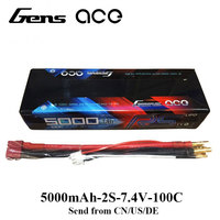 Gens ace Lipo Battery 7.4V 5000mAh 100C Lipo 2S Batteries Pack 4.0mm Bullet to Deans Plug for ARRMA TRAXX Axial Losi RC Car