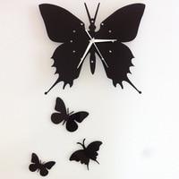 3D классический черный, красный бабочка настенные Стикеры часы Дизайн и декор плакат бабочки Гостиная ТВ Наклейка на стену красивые Дизайн и...