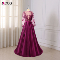 Robe De Soiree 2017 Dark Purple Lace Beaded Sexy Long Evening Dresses Bride Banquet See Through