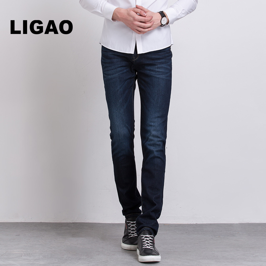 LIGAO Men's Jeans Regular stretch Leisure Pant Mens Trendy Elastic Mid Waist Straight Pants Casual Trousers Male Jeans Vaqueros 2016 new mens jeans pants elastic mid rise straight men clothing tops trousers deep blue casual trousers cool stretch men jeans