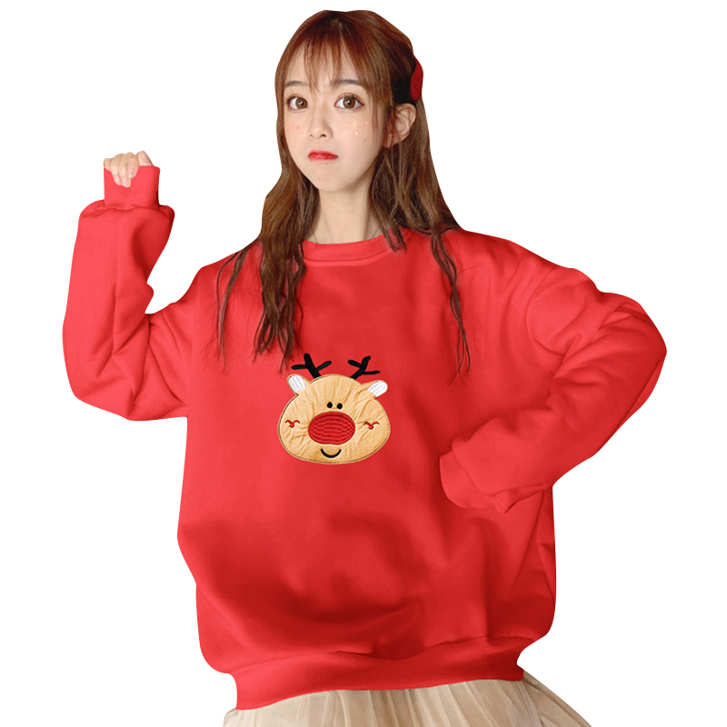 Harajuku Hoodie Autumn Winter Fashion Sweatshirt Cute Cartoon Santa Elk Christmas Tree Embroidery Hoodies Women Sweatshirts