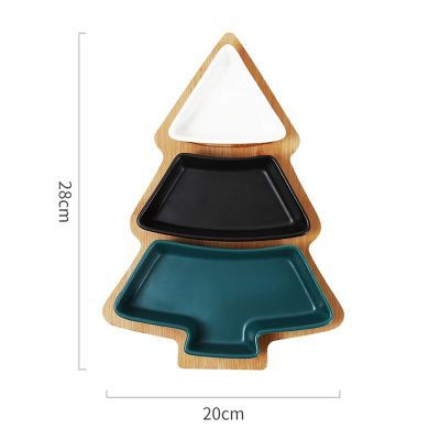 28cm full set ceramic bamboo Christmas tree tray Snack plate fruit bowl dish plate tableware breakfast.jpg 640x640 - trays-and-storage, tabletop-and-bar, dinnerware - Christmas Tree Serving Plate