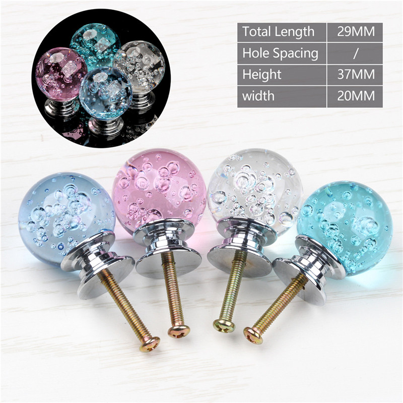 Crystal Glass Transparent Bubble Round Ball Handle Alloy Modernized Door Cabinet Pulls Single Hole Closet Drawer Kitchen Knobs