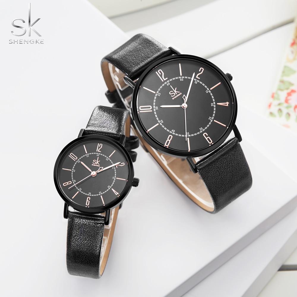 Shengke Couple Watch Set Men's Ladies Wrist Watches Analog Brown Fashion Simple Leather Strap Valentine Love Birthday Gifts