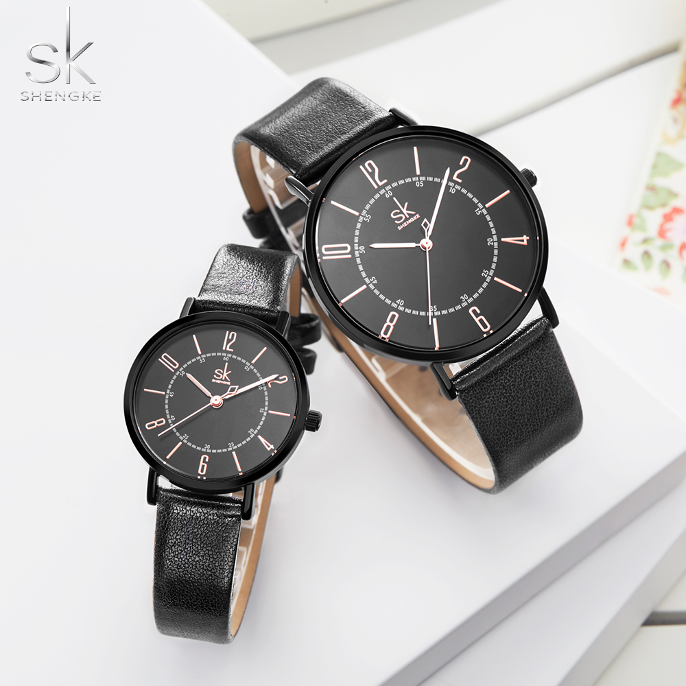 Shengke Couple Watch Set Men's Ladies Wrist Watches Analog Brown Fashion Simple Leather Strap Valentine Love Birthday Gifts image