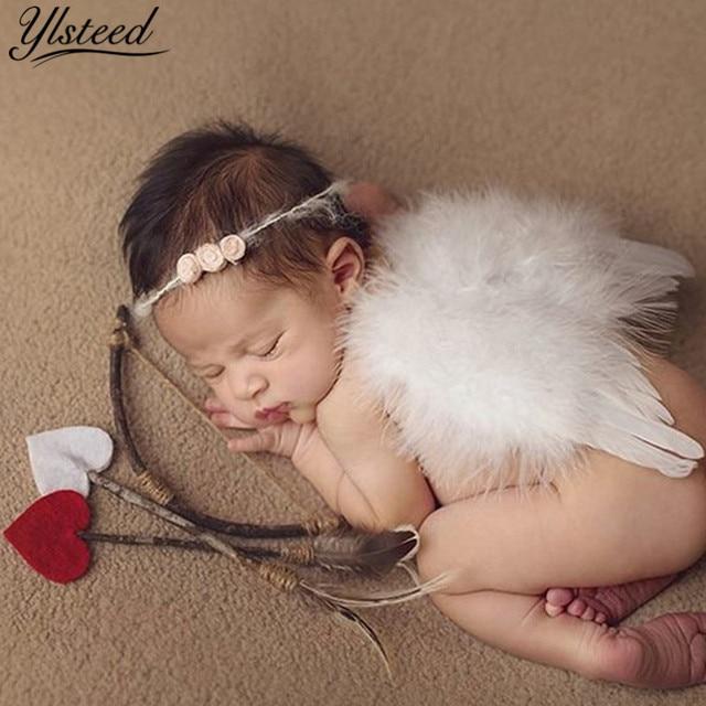 Ylsteed יילוד צילום Props תינוק חמוד כנפי מלאך + סרט + ארצ 'ר חץ פרחוני שיער אביזרי תינוקות ירי תלבושות