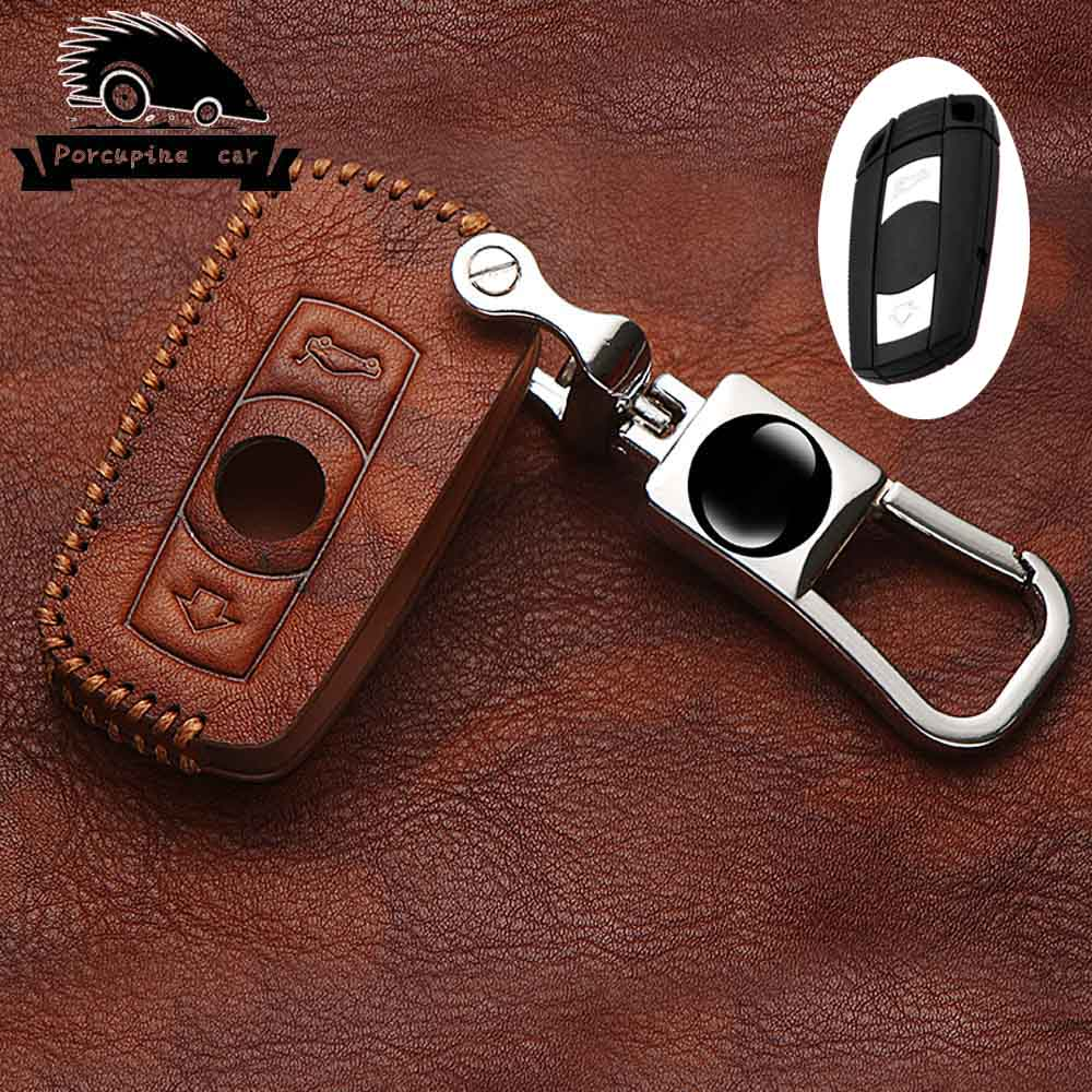 Quality Leather Car Key Case for BMW E90 E60 E70 E87 3 5 6 Series M3 M5 X1 X5 X6 Z4 KeyChain Cover Remote Controller Key Holder