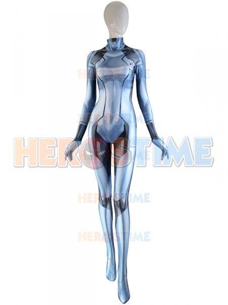 The Newest Silver Samus Aran Costume Metroid Samus Zero Game Catsuit 3D Printed Bodysuit Zentai Suit