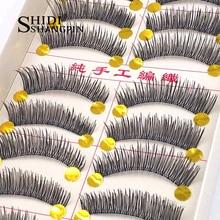 10 Pairs Women Winged False Eyelashes Handmade Natural Long Eyelashes Fake Eye Lashes Extension Faux Cils Maquillage