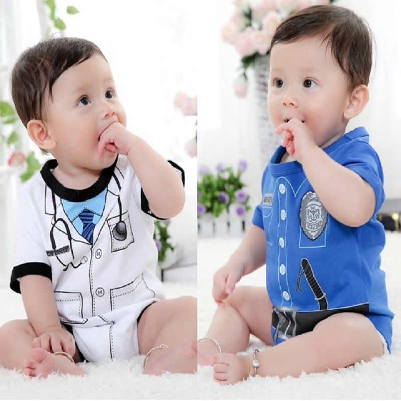 Hooyi Baby Boy's Bodysuits Officer Doctor Kostuums Tuxedo body suits TOP KWALITEIT Pasgeboren Kleding Jumpsuit 100% Katoen