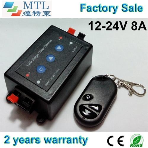 Regulátor LED stmívače 12-24V / 8A, 20 ks / lot, RF dálkové ovládání / ovládání klíčů, pro jednobarevný LED pásek, Velkoobchod s továrnou