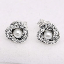 c43d1cc1c Authentic 925 Sterling Silver Earring Interlinked Circles With Pearl Studs  Earrings For Women Wedding Gift Pandora Jewelry