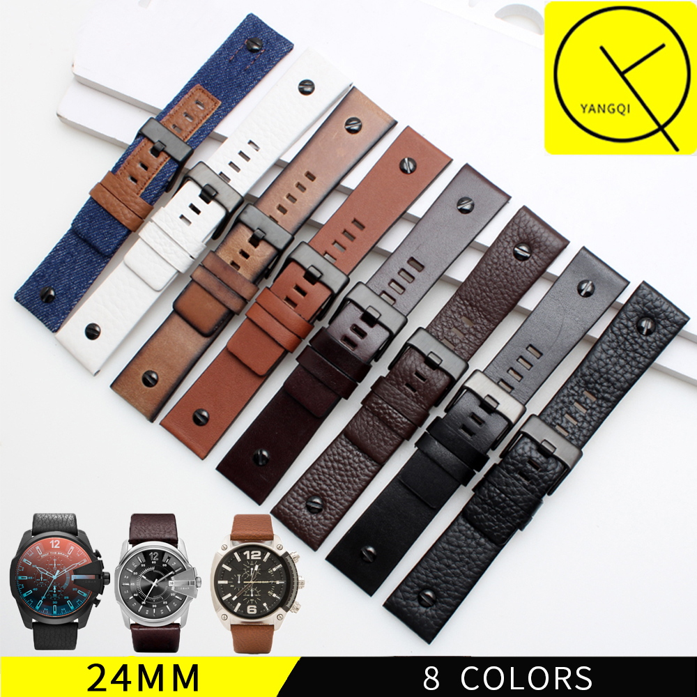 Genuine Leather WatchBand for Diesel DZ7257 DZ4318 DZ7313 Man Sport Watch Strap with Screw Stainless Steel Pin Buckle+Free Tool diesel dz7257