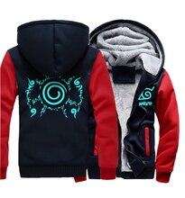 Jacket 2019 Casual Mens wool liner Sweatshirt Naruto Thicken Zipper Anime Camouflage sleeve Hoodies noctilucous printing coats