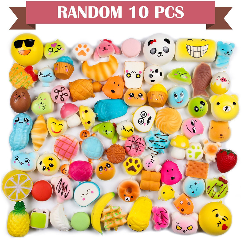 Random 10 Pcs Squishies Cream Scented Slow Rising Kawaii Simulation Lovely Toy Medium Mini Soft Food Squishies, Phone Straps