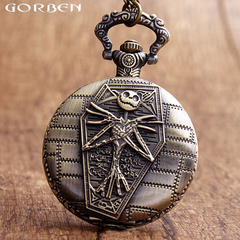 Vintage Bronze Jack Skellington Tim Burton Pocket Watch For Nightmare Before Christmas Theme Necklace Chain Clock Women Men Gift