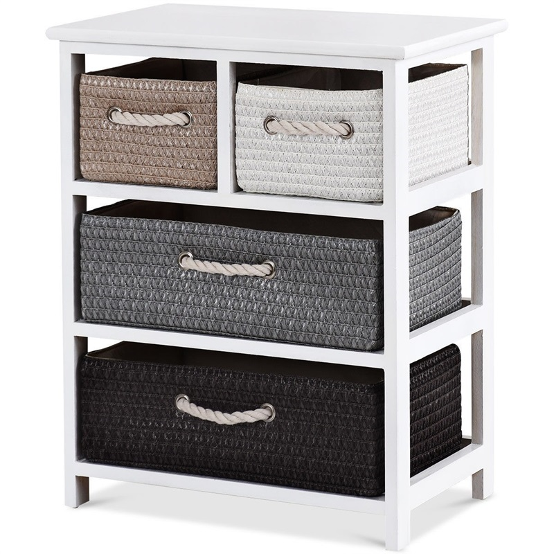 Storage Drawer Nightstand Woven Basket Cabinet Bedside Table White Wood Bedroom Furniture Nightstands With 4Storage box HW60304 mid century wooden desk