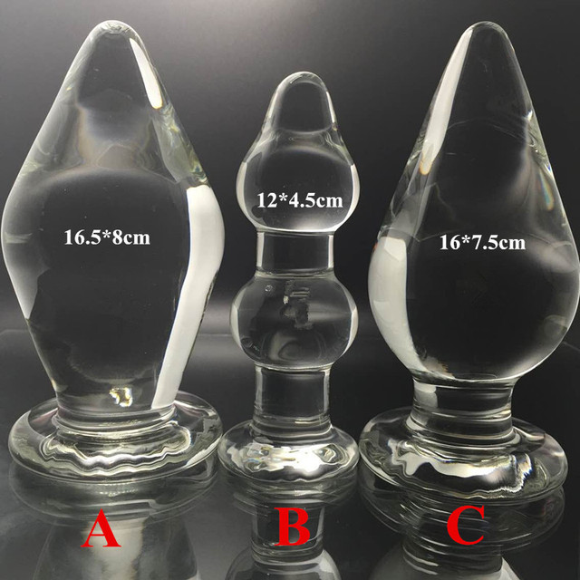3 in1 / Set,Diameter:8cm/7cm/ 4.5cm large glass butt plug,big anal plug sex toys products for men ans woman anal beads dildo
