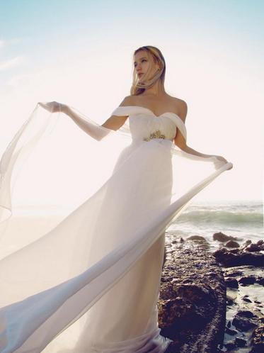 Summer Style Backless Beach Wedding Dresses Flowing Elegant Boho Bridal Dresses A Line Vintage Greek Goddess Wedding Gown 2016