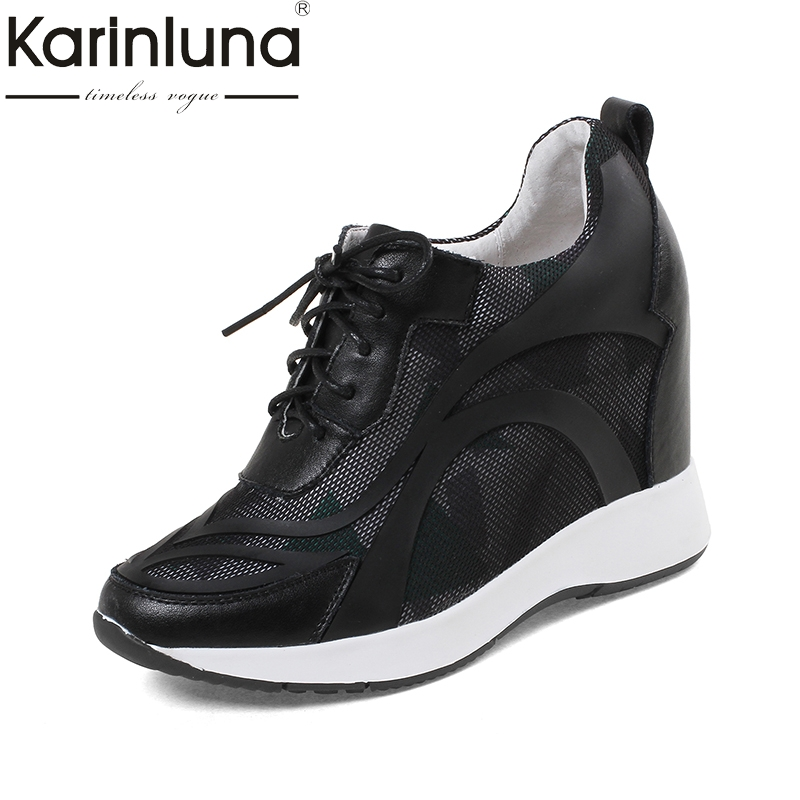 KarinLuna 2018 New large size 32 40 cow leather Platform women pumps Woman Fashion lace up